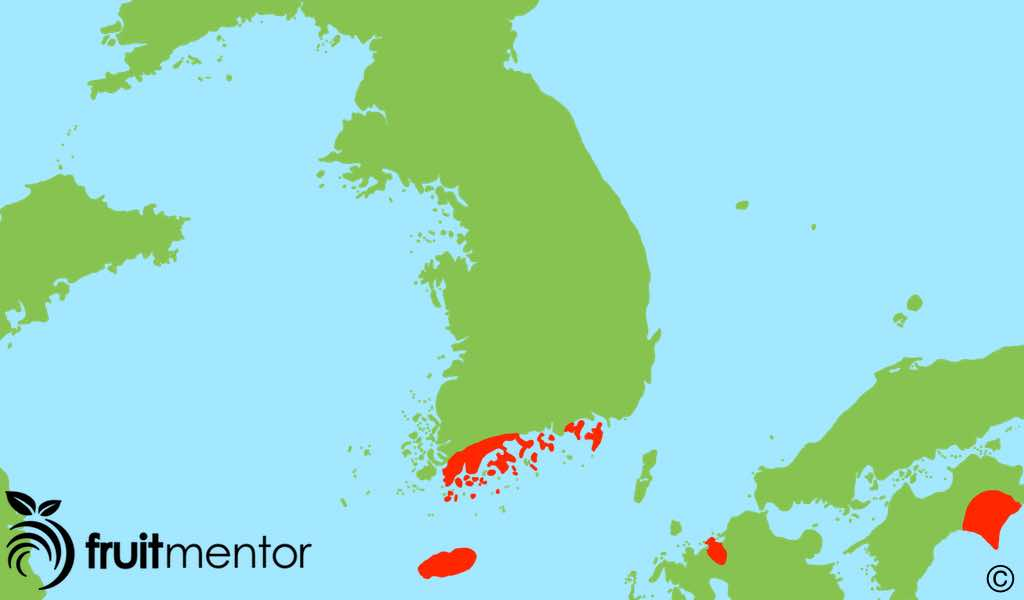 Areas where yuja/yuzu farmed are shown in red.